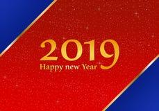 Grüße des neuen Jahres für Jahr 2019 mit hellem rotem Hintergrund mit glühenden Sternen und blauen Dreiecken in den Ecken mit ein vektor abbildung