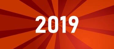 Grüße des neuen Jahres für Jahr 2019 mit hellem rotem Hintergrund und glühenden Farbglanz um Zahl Stock Abbildung
