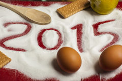 Grüße des Weihnachten-2015 und neues Jahr-Lebensmittel- Stockfotos