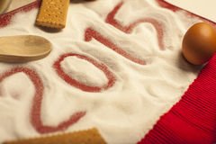 Grüße des Weihnachten-2015 und neues Jahr-Lebensmittel- Stockfotografie