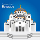 Grüße von Belgrad Orthodoxe Kirche Heiliges Sveti Sava Belgra Lizenzfreies Stockfoto