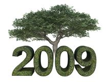 Grün 2009 mit Baum Lizenzfreie Stockfotografie