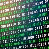 Grün-blaue digitale Farbe des binär Code auf schwarzem Hintergrund stockfoto