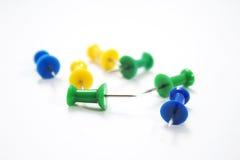 Grün-blaue und gelbe Stifte Stockbild