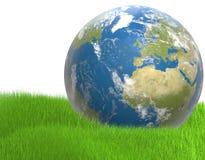 Grün-blaue weltweite Planetenerde 3d-illustration Elemente von Stockbild