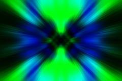 Grün-blauer Hintergrund mit kosmischen Strahlungen stockbild