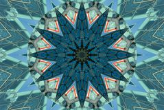 Grün-blauer Kaleidoskopmuster-Zusammenfassungshintergrund Punkt, Lautsprecher, industrieller Hintergrund Abstrakter Fractalkaleid stock abbildung