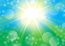 Grün-blauer Porträthintergrund mit starburst Licht und bokeh Stockfotos