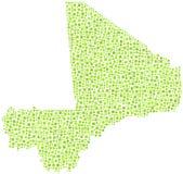 Grün deckte Karte von Mali mit Ziegeln Stockfotografie