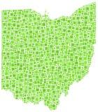Grün deckte Karte von Ohio mit Ziegeln Lizenzfreie Stockfotos