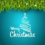 Grün der frohen Weihnachten lässt Hintergrund lizenzfreie abbildung
