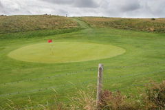 Grün des Golfs mit roter Fahne Stockbild