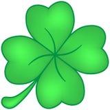 Grün des vierblättrigen Kleeblattes lokalisiert auf Weiß Stockfotografie