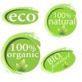 Grün, eco, Bio- und organische Aufkleber und Aufkleber auf einem weißen Hintergrund Stockbild