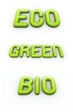 Grün, eco und Bio in den glatten Schrifttypen der Luftblase 3d Lizenzfreie Stockbilder