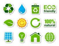 Grün-/ecoikonen Stockbilder