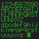 Grün führte Versalien, kleingeschriebenes englisches Alphabet und Zahl Lizenzfreies Stockbild