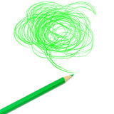 Grün farbige Bleistiftzeichnung Stockfotografie