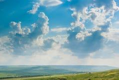 Grün-Felder unter blauem Himmel Lizenzfreies Stockfoto