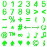 Grün gebogene Zahlen 3D und Symbole Stockfotos
