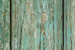 Grün gemalte alte Plankenbeschaffenheit Stockfoto