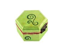 Grün gemalter Schmucksachekasten Stockbild
