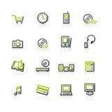 Grün-grau e-kaufen Ikonen Lizenzfreie Stockbilder