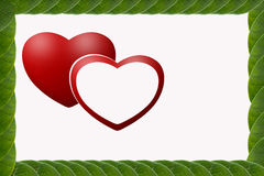 Grün lässt Herz-förmigen Rahmen Lizenzfreies Stockfoto
