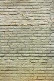 Grün malte alte Backsteinmauer mit Schatten des Ockers Lizenzfreie Stockbilder