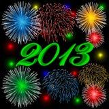 Grün mit 2013 Feuerwerken Stockfoto