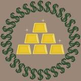 Gr?n mit den schwarzen Dollarzeichen, welche die Goldfunkelnden Barren lokalisiert auf einem beige Hintergrund umgeben stock abbildung