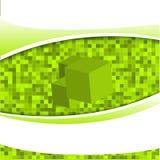 Grün-Quadrat-Mosaik-Würfel-Hintergrund Lizenzfreie Stockbilder