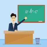 Grün-Schulgeklapper-Brett Professor-Point Hand To Stockfoto