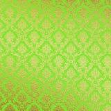 Grün und Golddamast-Hintergrund Lizenzfreie Stockfotografie