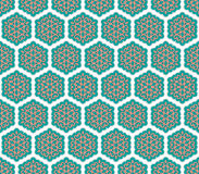Grün- und Rosablumentextilmuster Stockbild