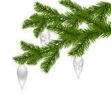 Grün zwei, realistisch, mit den Spielwaren des neuen Jahres, Fichtenzweige Weihnachtsfichtenzweige Auf weißem Hintergrund Stockfotografie