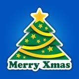 Grünbaum der frohen Weihnachten mit Sternen und Bändern Lizenzfreie Stockbilder