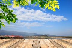 Grünblätter und -Holztisch mit blured Hintergrund des blauen Himmels Lizenzfreie Stockfotografie