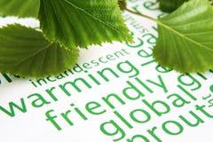 Grünblätter und Konzept der globalen Erwärmung Lizenzfreies Stockfoto