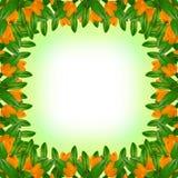 Grünblatt- und -blumenrahmen lizenzfreies stockfoto