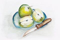 Grüne Äpfel und scharfes Messer Stockbild