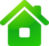 Grüne Öko-Haus-Vektorikone Lizenzfreie Stockfotos