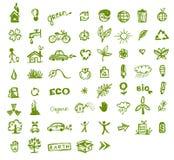 Grüne Ökologieikonen für Ihre Auslegung Lizenzfreie Stockfotografie