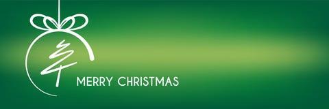 Grüne abstrakte Baumgrenze der frohen Weihnachten mit Kreisfahne Lizenzfreies Stockbild