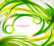 Grüne abstrakte eco Welle wirbelt mit Lichtern Stockbild