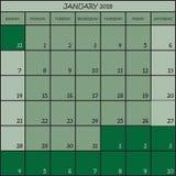 01 2018 grüne Abstufungen der Farbe drei Stockbild