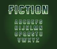 Grüne achtziger Jahre Retro- Sciencefictions-Guss-Satz mit Stern-inneren Buchstaben Alph Stockbilder