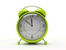 Grüne Alarmuhr getrennt auf weißem Hintergrund 3D Stockfoto