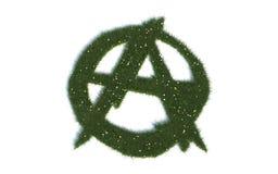 Grüne Anarchie-Zeichen-Reihen-Symbole aus realistischem Gras heraus Stockfoto