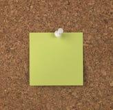 Grüne Anmerkung über Korken-Vorstand Stockbild